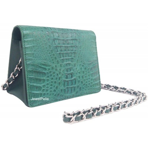 HB0335 crocodile lady hand bag green