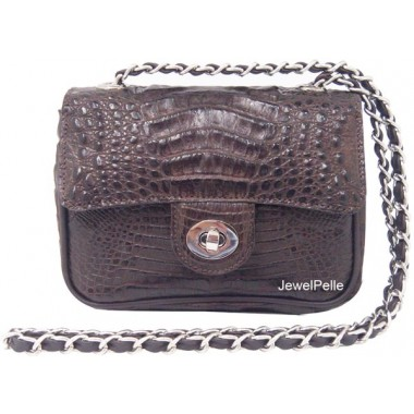 Crocodile hand bag HB0347 brown