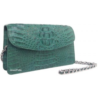 HB0491 crocodile lady bag green