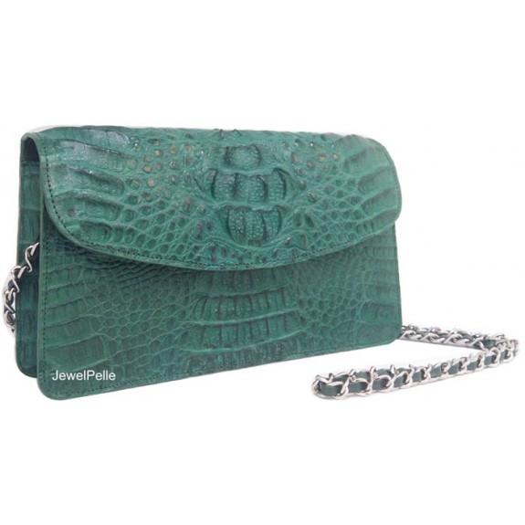 HB0491 crocodile lady bag green