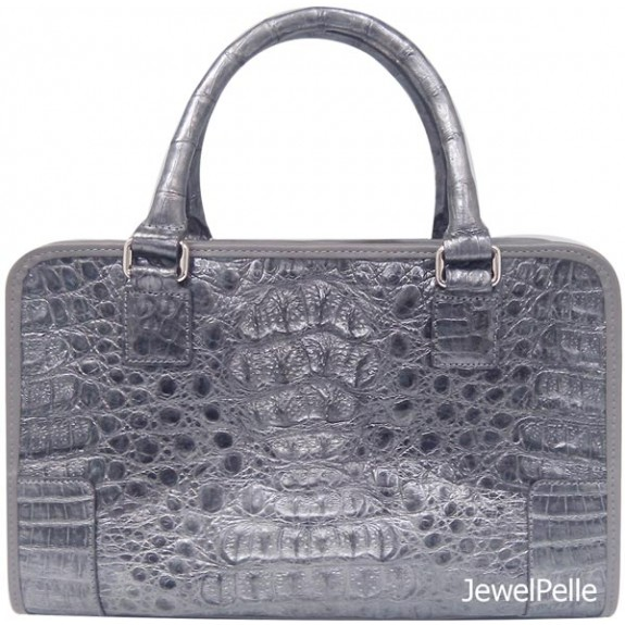 HB0560 crocodile bag metallic grey
