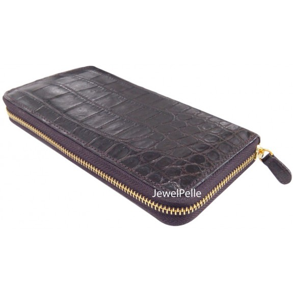 HB0261 belly crocodile zip wallet brown