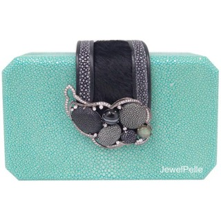 HB0459 stingray clutch turquoise