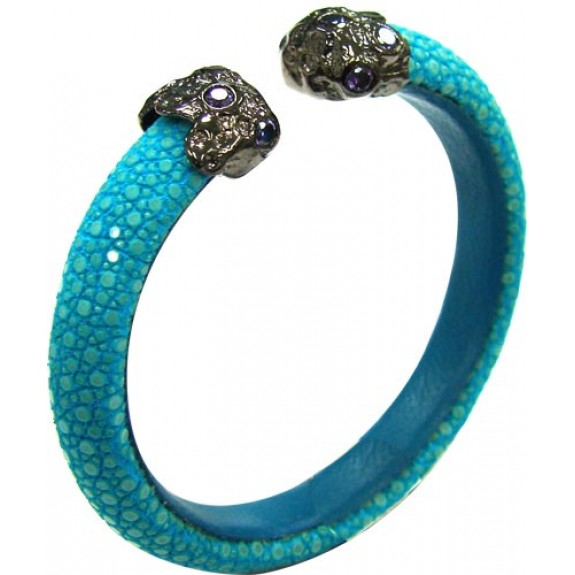 Polished Stone | AQUA  Bangle 925 silver
