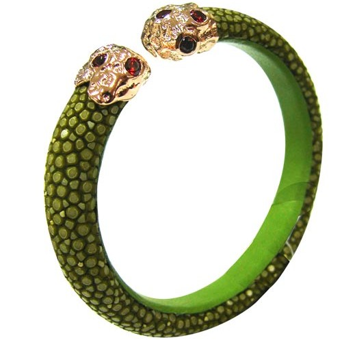 Polished Stone | LIME  Bangle 925 silver