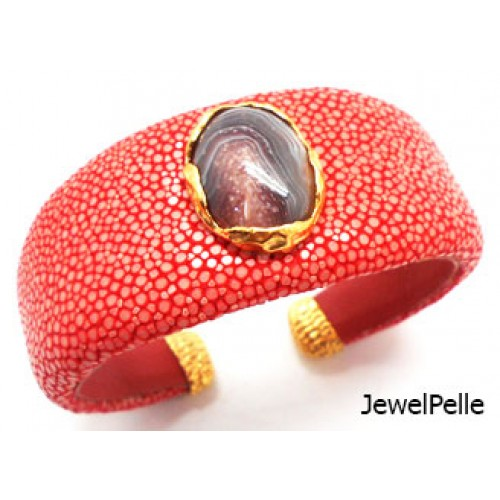 Shagreen cuff BA0587 indian red