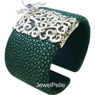 DragonFly | GREEN Stingray Cuff 925
