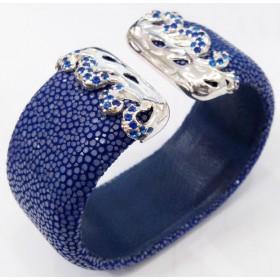 Lava II Flat Collection   Blue鱼皮袖口手镯925