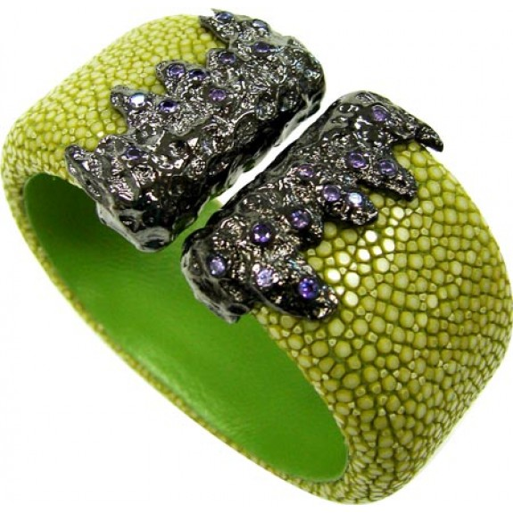 Lava Flat Collection   Lime鱼皮袖口手镯925