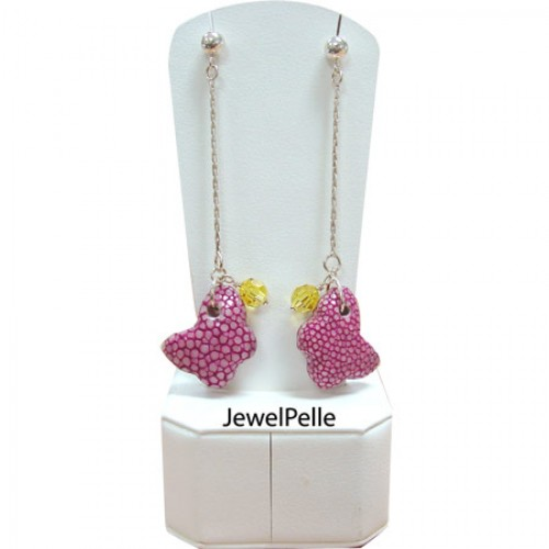 Lovely Bead Collections   PINK Butterfly鱼皮珍珠耳坠银925