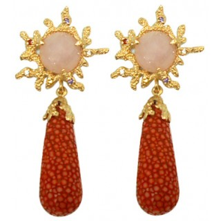 Bright Sea | LAVA Stingray Drop Earring 92.5% RED