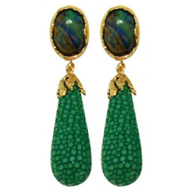 Bright Sea | Lava Stingray Drop Earring 92.5% GREEN
