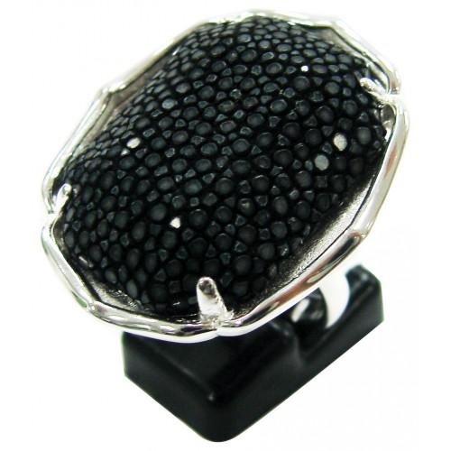 Grand乌龟宝石 鱼皮戒指| BLACK